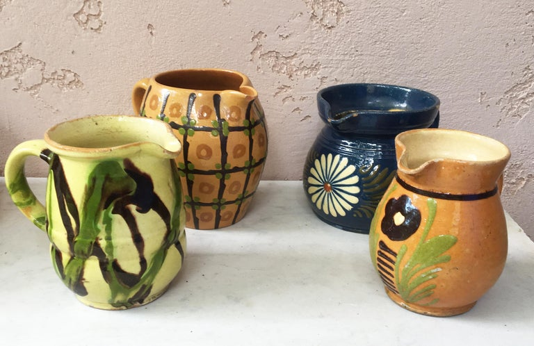 French Pottery Flower Pitcher For Sale 3
