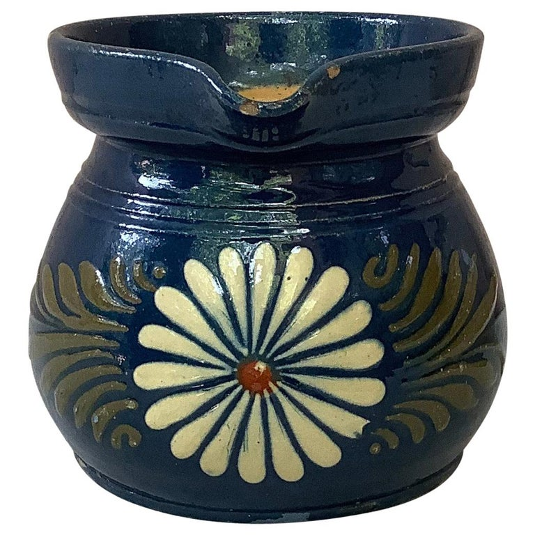 French Pottery Flower Pitcher For Sale