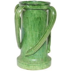 French Pottery Green Glazed Vase