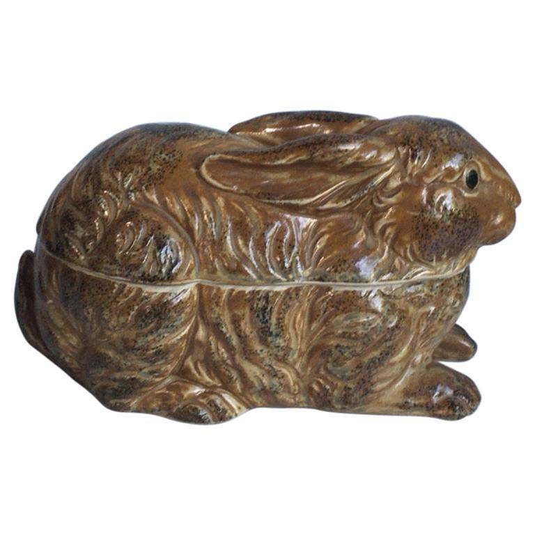 French Pottery Majolica Brown Rabbit Pâté Tureen, circa 1920 For Sale
