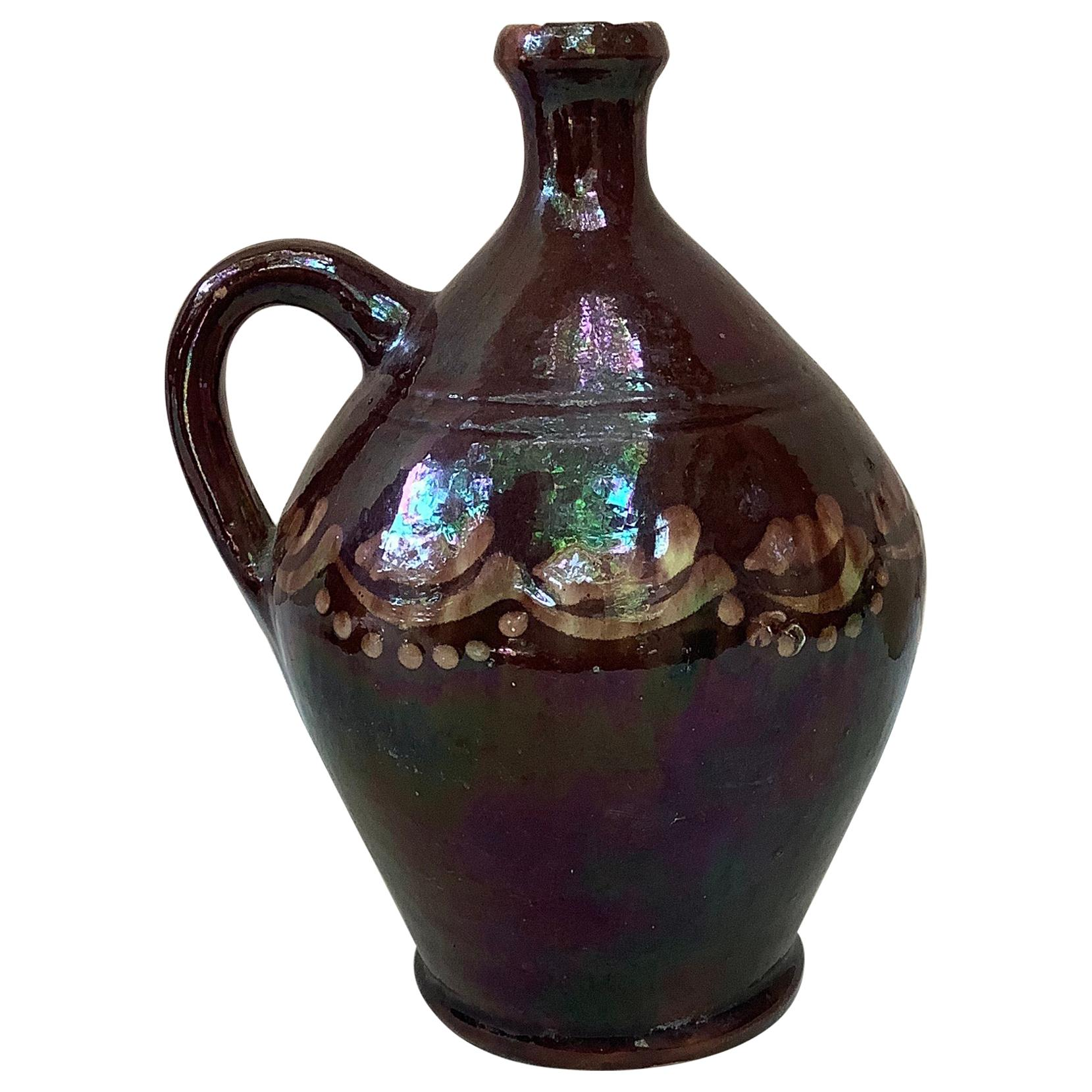 French Pottery Rustic Handled Pitcher, circa 1900