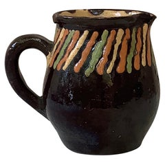 French Pottery Striped Pitcher