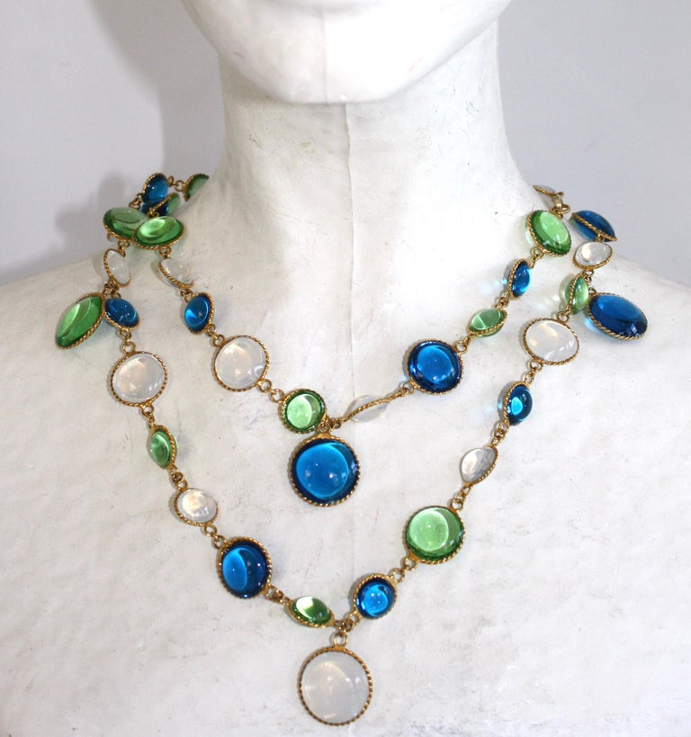 French Poured Glass Multi Color Long Necklace In New Condition For Sale In Virginia Beach, VA