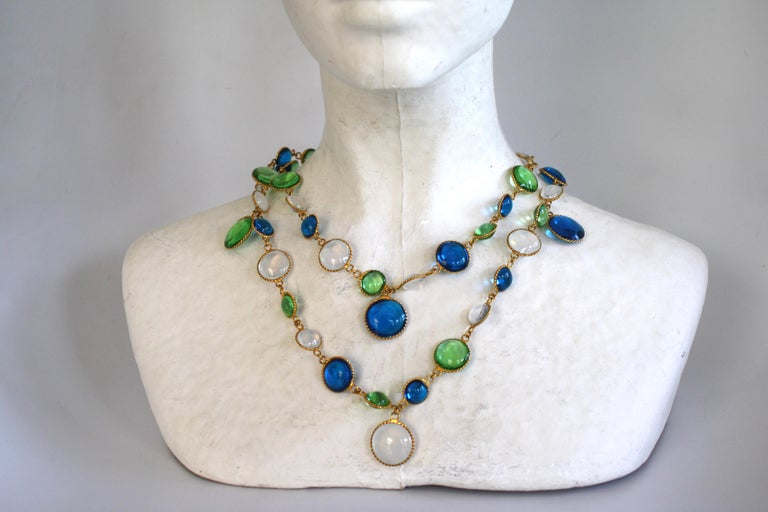 Women's French Poured Glass Multi Color Long Necklace For Sale