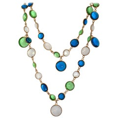 French Poured Glass Multi Color Long Necklace