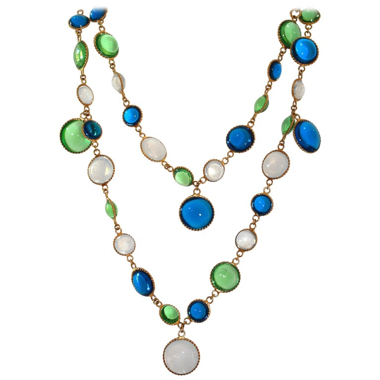 French Poured Glass Multi Color Long Necklace For Sale
