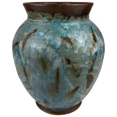 French Powder Blue Ceramic Vase with Aquatic Plants Decor, Signed