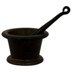 French Primitive 18th Century Cast Iron Mortar