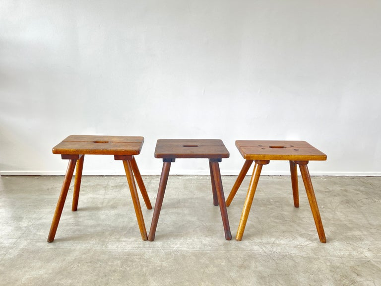 Wonderful primitive stools from France, circa 1940's with great wood patina and jointery.  Various patinas to wood - all incredible.