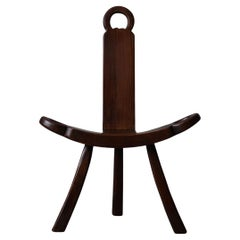 French Wooden Brutalist Tripod Chair, 1960s