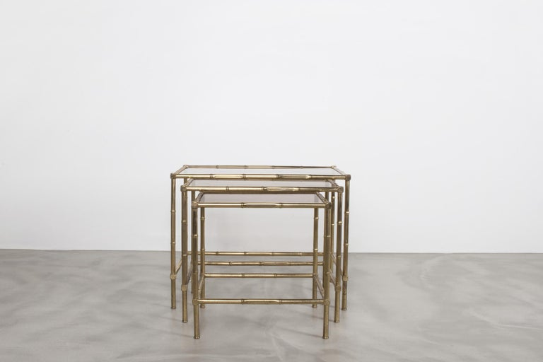 French Production, Nesting Table, Set of Three, 1950s In Good Condition For Sale In Monaco, Monaco