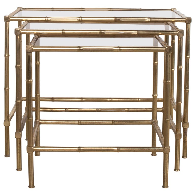 French Production, Nesting Table, Set of Three, 1950s For Sale