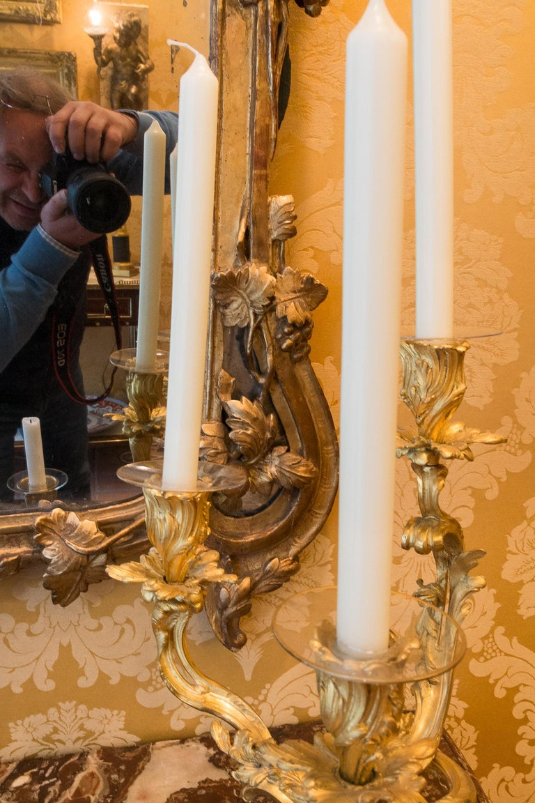 French Provencal Period Louis XV, Large Gilt and Lacquered Wood Mirror For Sale 5