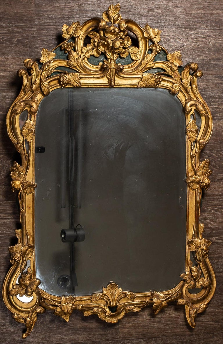 French Provencal Period Louis XV, Large Gilt and Lacquered Wood Mirror For Sale 6