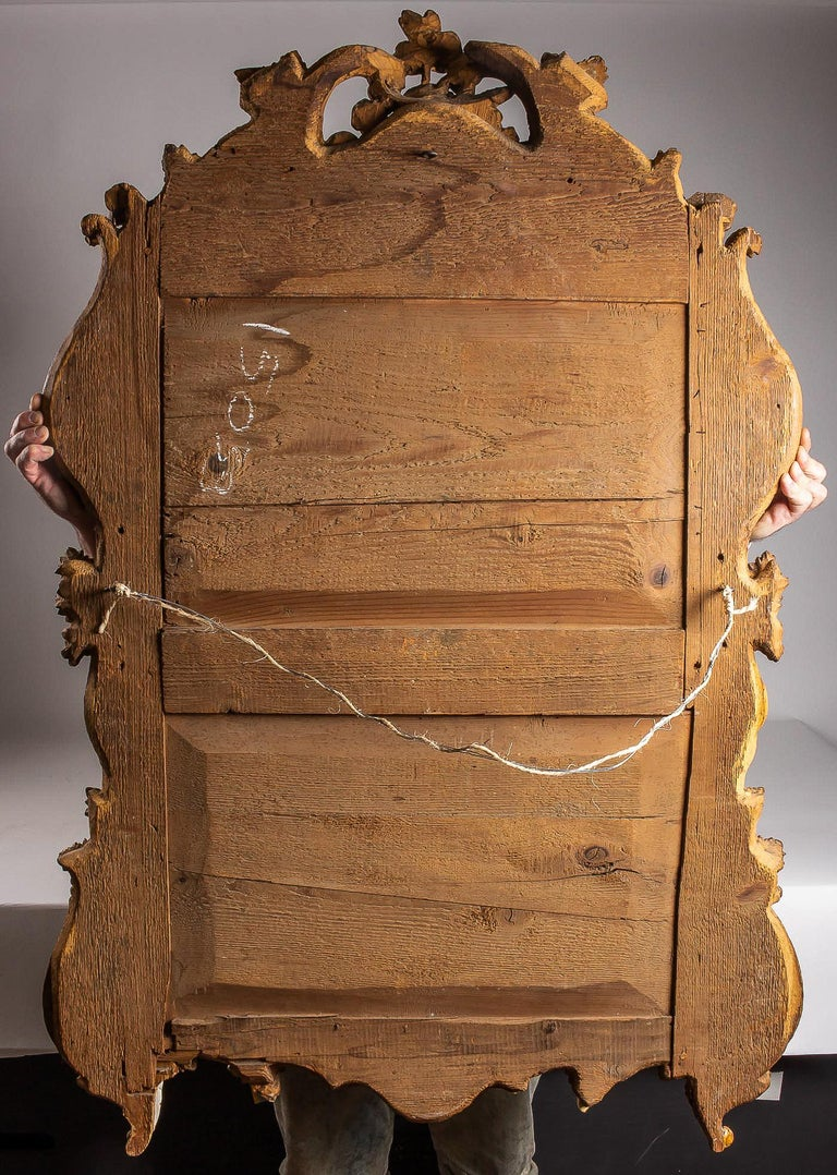 French Provencal Period Louis XV, Large Gilt and Lacquered Wood Mirror For Sale 7