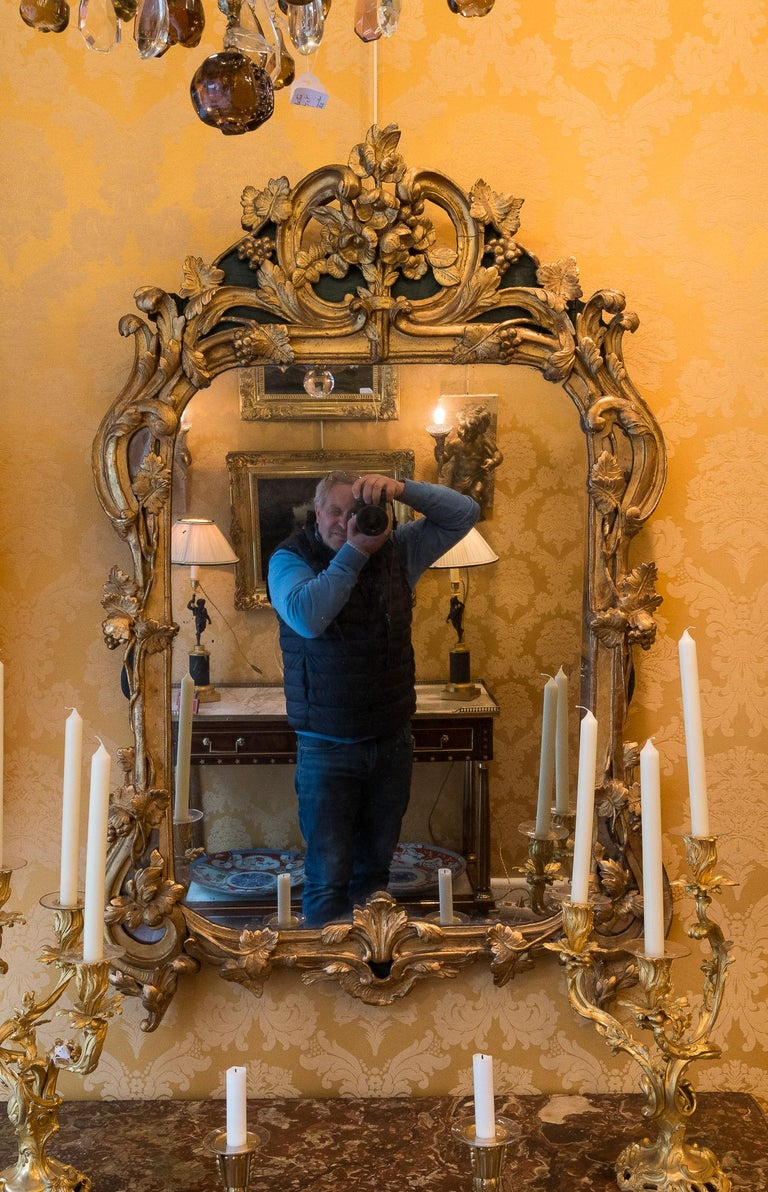 French Provencal Period Louis XV, Large Gilt and Lacquered Wood Mirror  An elegant and decorative, large carved gilt and lacquered wood serpentine mirror, decorated with vine leaves and grapes.  Exciting Provencal Louis XV period mirror circa