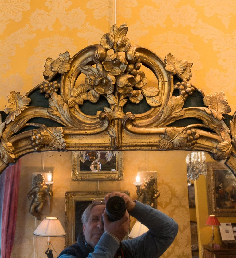 Carved French Provencal Period Louis XV, Large Gilt and Lacquered Wood Mirror For Sale