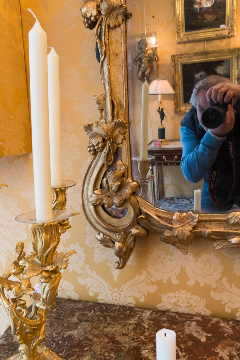 Giltwood French Provencal Period Louis XV, Large Gilt and Lacquered Wood Mirror For Sale