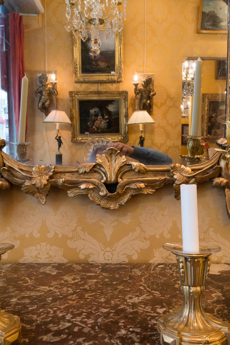 French Provencal Period Louis XV, Large Gilt and Lacquered Wood Mirror For Sale 1