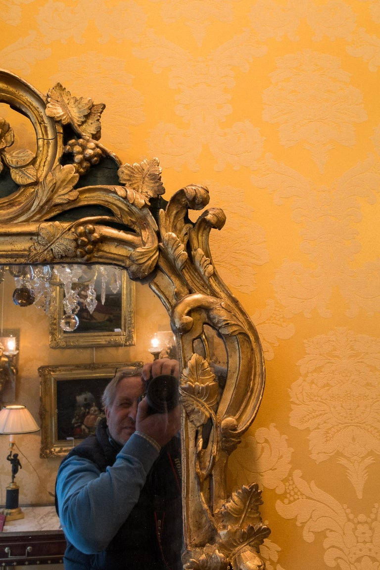 French Provencal Period Louis XV, Large Gilt and Lacquered Wood Mirror For Sale 2