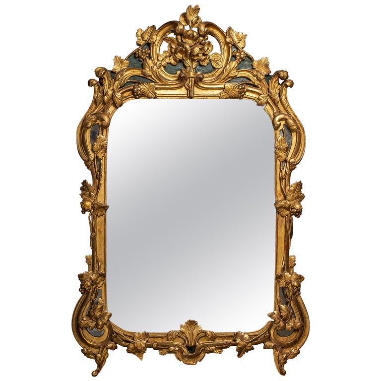 French Provencal Period Louis XV, Large Gilt and Lacquered Wood Mirror For Sale
