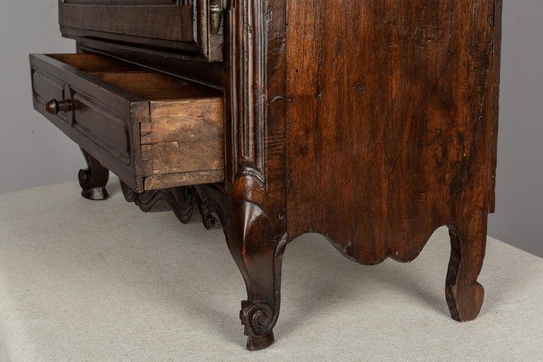 Walnut French Provençal Vitrine or Display Cabinet For Sale