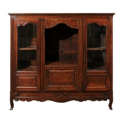 French Provincial 1780s Walnut Bibliothèque with Glass Doors and Open Shelf