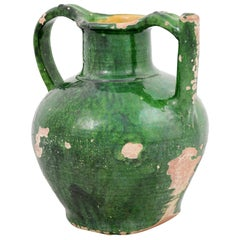 French Provincial 1850s Distressed Green Glazed Pottery Olive Oil Jug