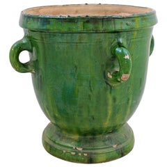 French Provincial 1850s Green Glazed Pottery Garden Urn with Four Petite Handles