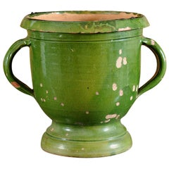 French Provincial 1850s Green Glazed Pottery Jardinière with Distressed Patina