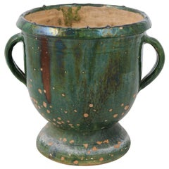 French Provincial 1850s Green Glazed Pottery Jardinière with Lateral Handles