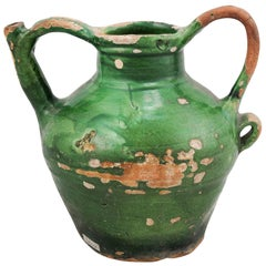 French Provincial 1850s Green Glazed Pottery Olive Oil Jug with Large Handles