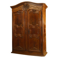 French Provincial 18th Century Walnut Armoire
