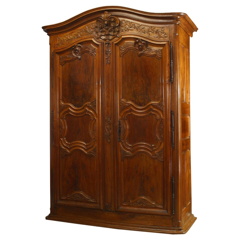 French Provincial 18th Century Walnut Armoire For Sale