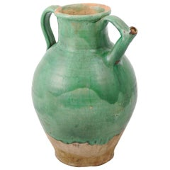 French Provincial 19th Century Distressed Green Glazed Pottery Jug with Spout