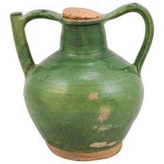French Provincial 19th Century Green Glazed Pitcher with Cork Top