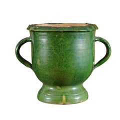 French Provincial 19th Century Green Glazed Pottery Jardinière with Aged Patina