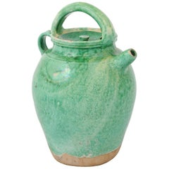 French Provincial 19th Century Green Glazed Pottery Lidded Jug with Handle