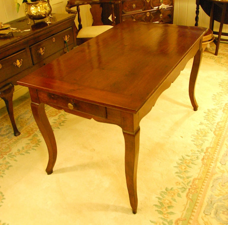 French Provincial 19th Century Small Farmhouse Cherry Dining Table In Good Condition For Sale In Wells, ME