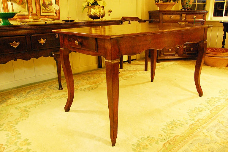 French Provincial 19th Century Small Farmhouse Cherry Dining Table For Sale 1