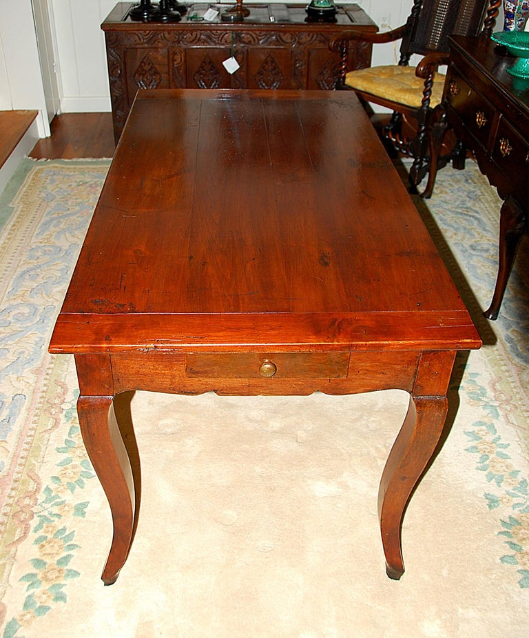 French Provincial 19th Century Small Farmhouse Cherry Dining Table For Sale 2