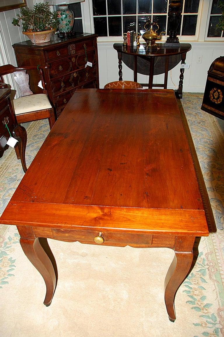 French Provincial 19th Century Small Farmhouse Cherry Dining Table For Sale 3