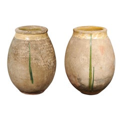 French Provincial 19th Century Terracotta Biot Jar with Yellow and Green Glaze