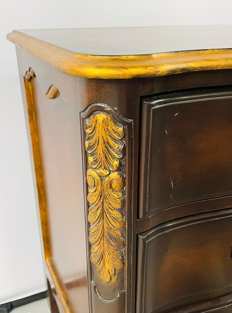 French Provincial 3 Drawer Mahogany Gilt Decorated Nightstand Table, a Pair For Sale 3