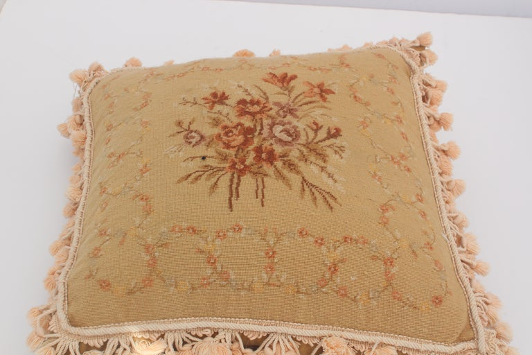 Beautiful vintage French Provincial pillows with Aubusson style roses and decorative floral bouquet.