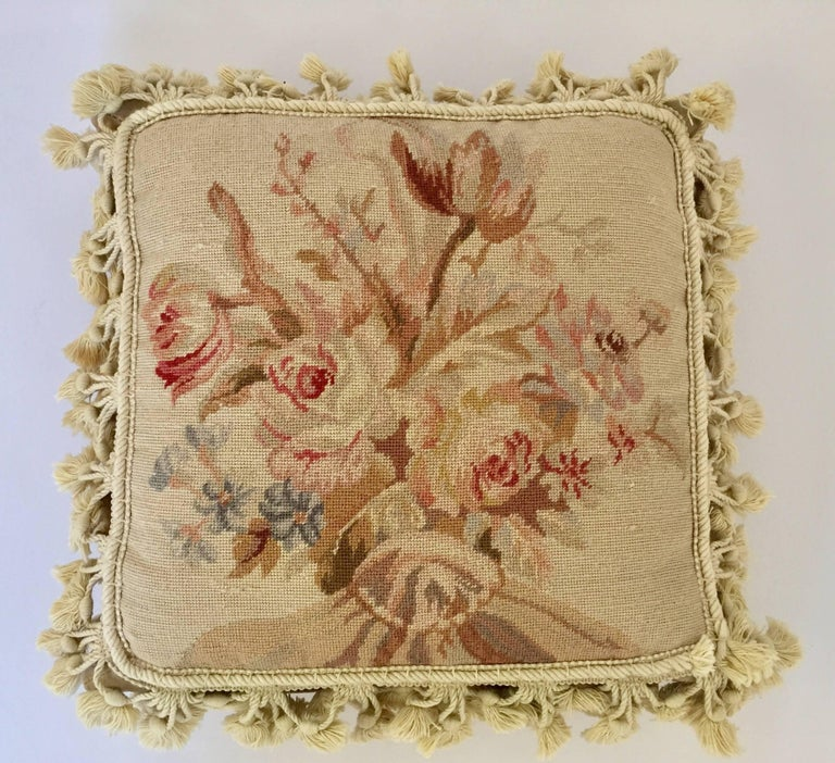 Hand-Woven French Provincial Aubusson Style Throw Pillow