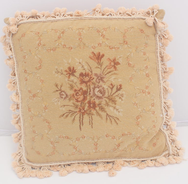 Hand-Crafted French Provincial Aubusson Style Throw Pillow For Sale