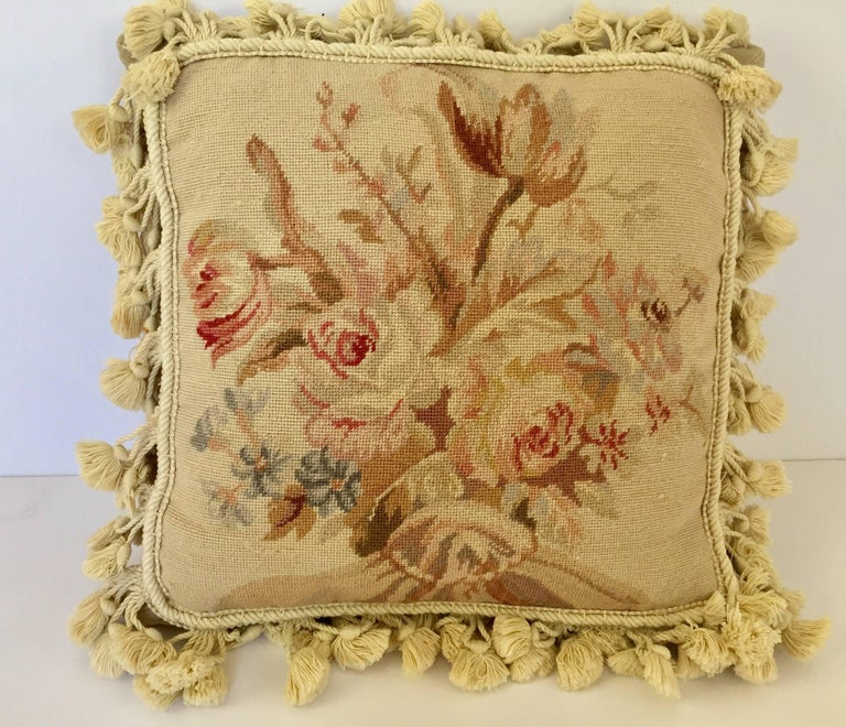 French Provincial Aubusson Style Throw Pillow In Good Condition In North Hollywood, CA