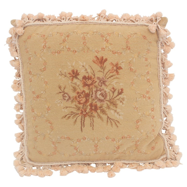French Provincial Aubusson Style Throw Pillow For Sale