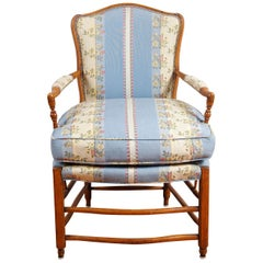 French Provincial Beechwood Fauteuil with Padded Ladderback and Arms